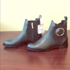 NWT: Zara sz 6.5 Black zip moto boots w/ buckle